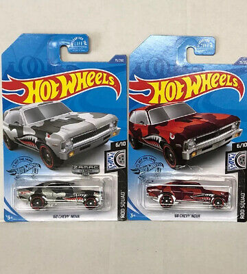 Hot Wheels 68 Chevy Nova Lot Of 2 Cars 1 Zamac, 1 Red From H Case