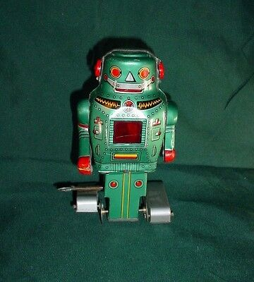 Vintage Tin Toy Mighty Robot Space Wind Up Walking Sparking Japan Noguchi