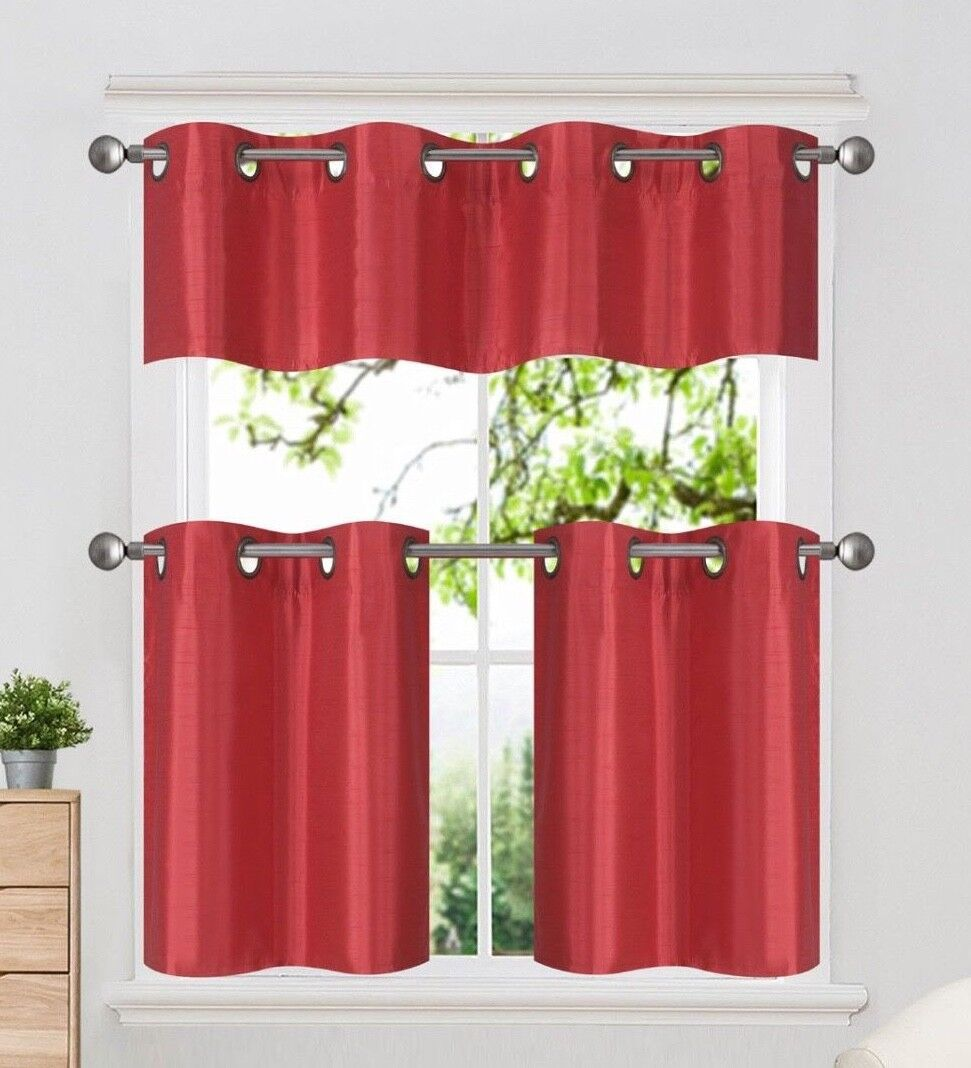 3PC Set Insulated Blackout Grommet Window Curtains Tier Vala