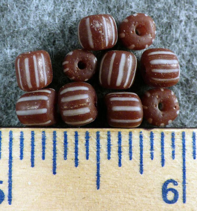 10 Huron Indian Chocolate Brown Glass False Chevron Trade Beads Fur Trade 1800s
