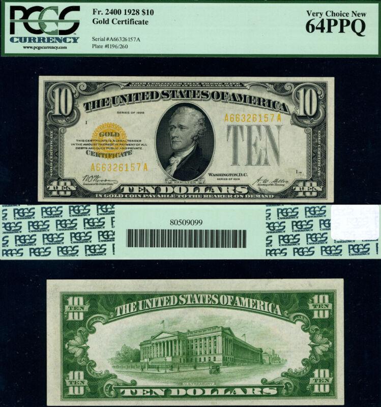 FR. 2400 $10 1928 Gold Certificate A-A Block Choice PCGS CU64 PPQ