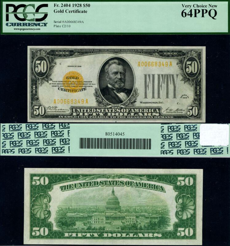 FR. 2404 $50 1928 Gold Certificate A-A Block Choice PCGS CU64 PPQ