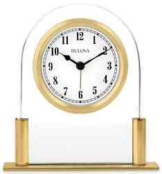 Gold Glass Floating Face Office Alarm Clock Tabletop Desk Mantle Table Top Shelf