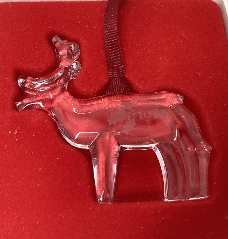 Orrefors 1986  Crystal Reindeer Ornament