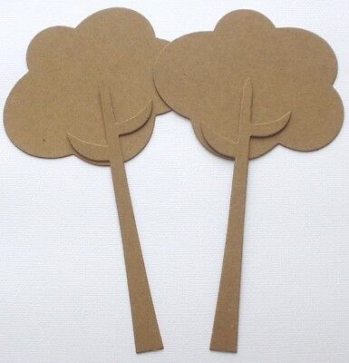 {3}  TALL WHiMSiCAL TREES - Bare Chipboard Die Cuts Embellishments - 7 7/8