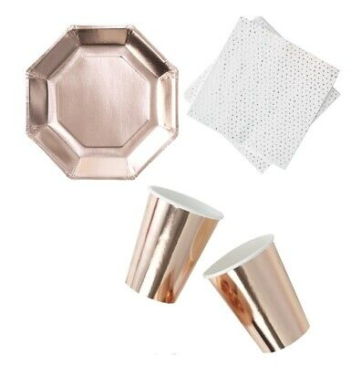 ROSE GOLD Party PLATES CUPS NAPKINS Party Tableware Birthday Christening Wedding