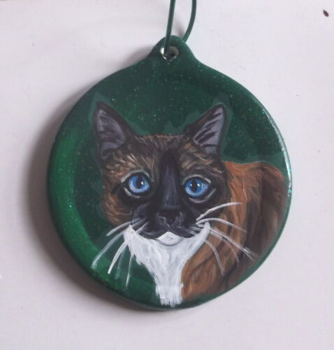 Tonkinese Cat Christmas Ornament Decoration Hand Painted Ceramic