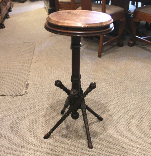 Antique Victorian Brown Marble top Pedestal Table Stand