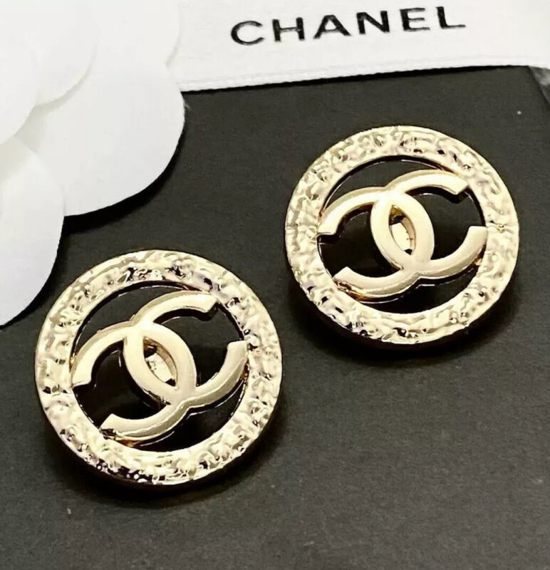 Set Of 2 Stamped CHANEL Gold Round metal buttons 20mm