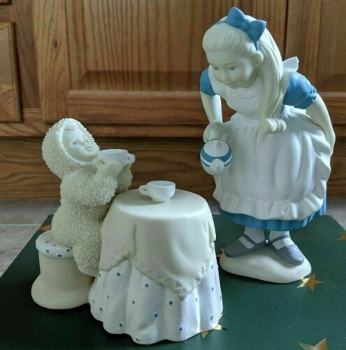 """Snowbabies Dept 56 """"Tea For Two"""" Alice In Wonderland Collection NEW"""