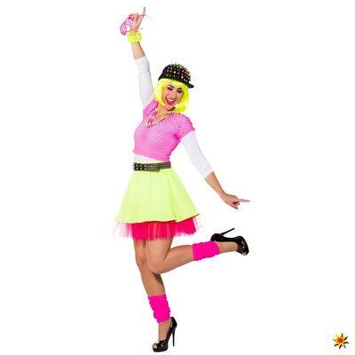 Rock neongelb/pink mit Petticoat 80er 90er Jahre Kostüme neon Rock