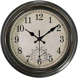 12 Inch Wall Clock w Thermometer, Battery Operated Waterproof Indoor/Outdoor C