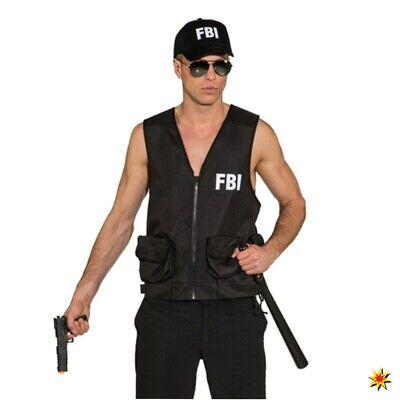 FBI Weste für Herren schwarz Kostüm Polizei Agent Geheimdienst Fasching - Fbi Agent Kostüm Weste