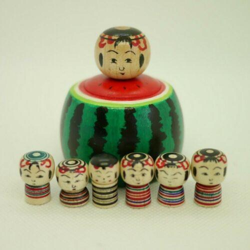6cm Japanese Traditional Kokeshi Ejiko Doll Toshihiko Nishiyama(1958-)Watermelon