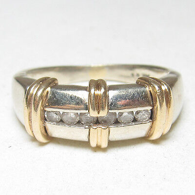 Estate 14K White And Yellow Gold Six Brilliant Cut Diamond Band Ring 0.20 Cts