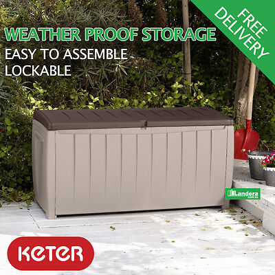 Keter Novel Outdoor Storage Box 340L - cushions, tools, garden, pool storage