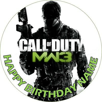 EDIBLE COD Call of Duty MW3 Birthday Party Cake Topper Wafer Paper 7.5
