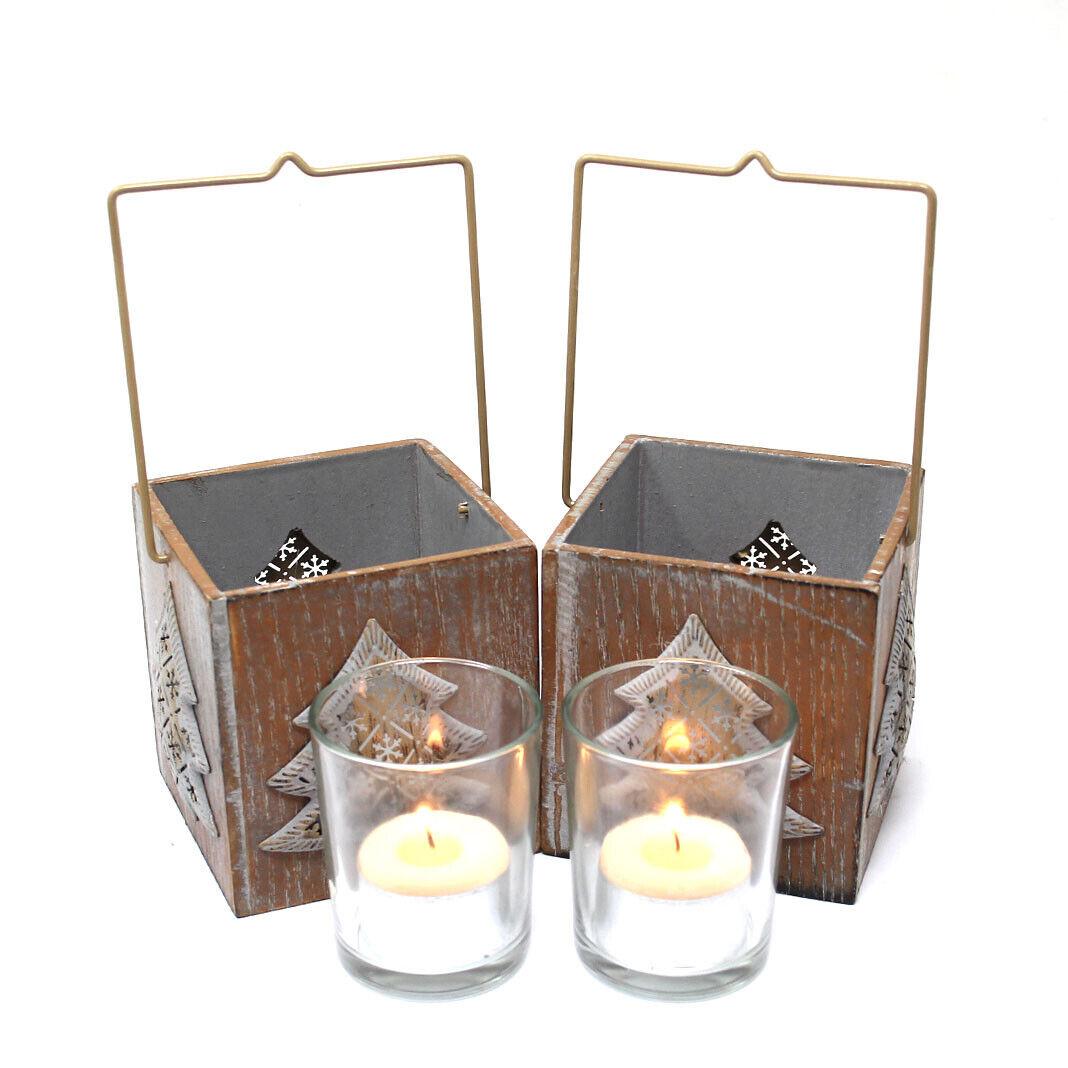 2 x Christmas Tea Light Holder lanternes