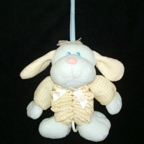 OshKosh Blue Yellow Puppy Dog Musical Pull Crib Toy Plush Baby Osh Kosh