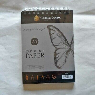 Collins and Davison A5 Spiral Artists Cartridge Paper Sketch Book.  New sealed.