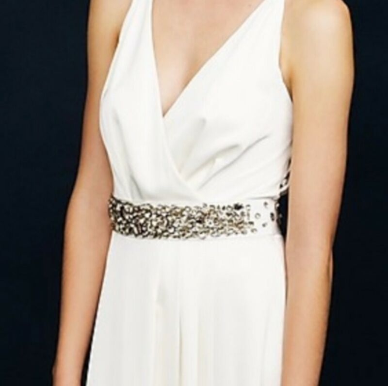 J.Crew Embellished Rhinestone Beige Wedding Dress Sash Belt
