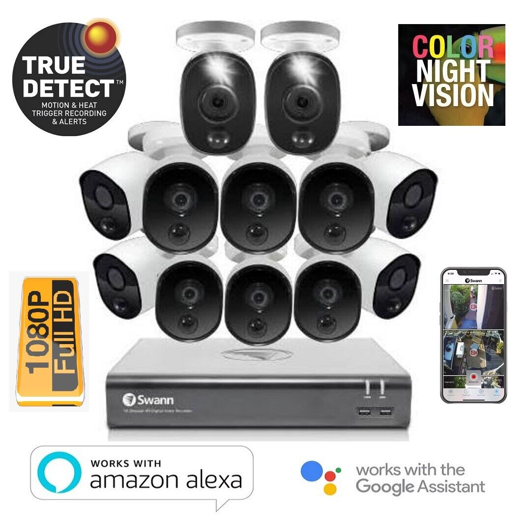12 Camera 16 Channel 1080p Full HD DVR Security System