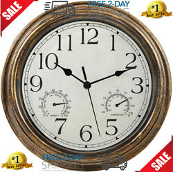12 Inches Indoor Outdoor Waterproof Wall Clock With Thermometer Hygrometer Combo