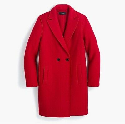 SOLD OUT! J.Crew 14 Daphne Topcoat RED Boiled Wool J4864 overcoat crimson apple