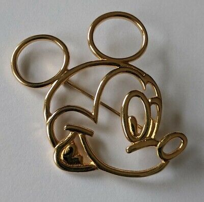Vintage Disney Van Dell Sterling Gold Vermeil Mickey Mouse Pin Brooch