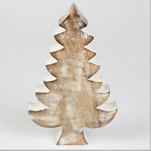CHRISTMAS TREE DECORATION RUSTIC NORDIC MANGO WOOD RUSTIC ORNAMENT DECORATION