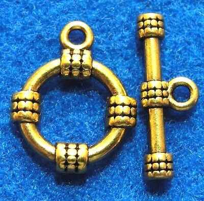 10Sets Tibetan Antique Gold ROUND Toggle Clasps Connectors Jewelry Finding C145