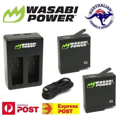 Wasabi Power 1220mAh Battery (2-Congregation) + Dual USB Charger Kit GoPro HERO6, HERO5
