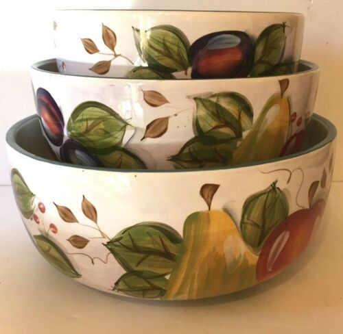 Heritage Mint BLACK FOREST FRUITS 3 Piece Mixing Bowl Set  New Unused