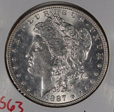 1887 $1 Morgan Silver Dollar Mint State #163884