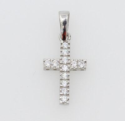 (14K Real White Gold Very Tiny Cross Charm Pendant Cubic Zirconia Baby Children)