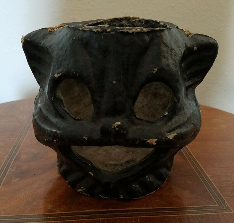 Vintage Halloween Paper Mache Black Cat Lantern 40s 50s