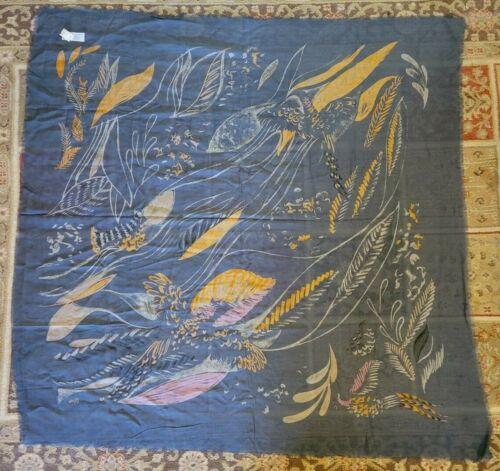 """Vera Neumann Tablecloth Vintage Blue Orange Sheer Fringe 51"""" x 51"""" NOS Japan"""
