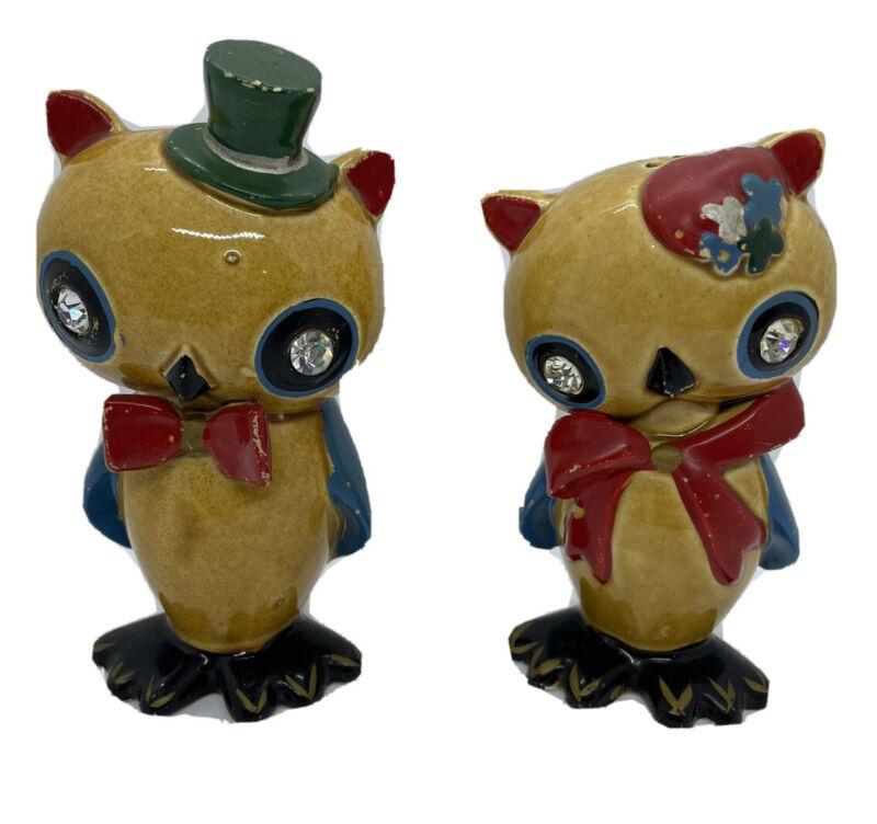 ANTHROPOMORPHIC OWL Salt Pepper Shakers Jewel Eyes Figural LEFTON Japan VINTAGE