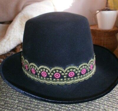 Cooler schwarzer Hut mit Borte v. Hückel-Seebrecht! Vintage! Wenig getragen! ()