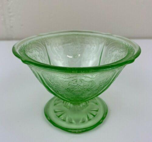 Hazel Atlas Glass Royal Lace Green Footed Dessert Bowl