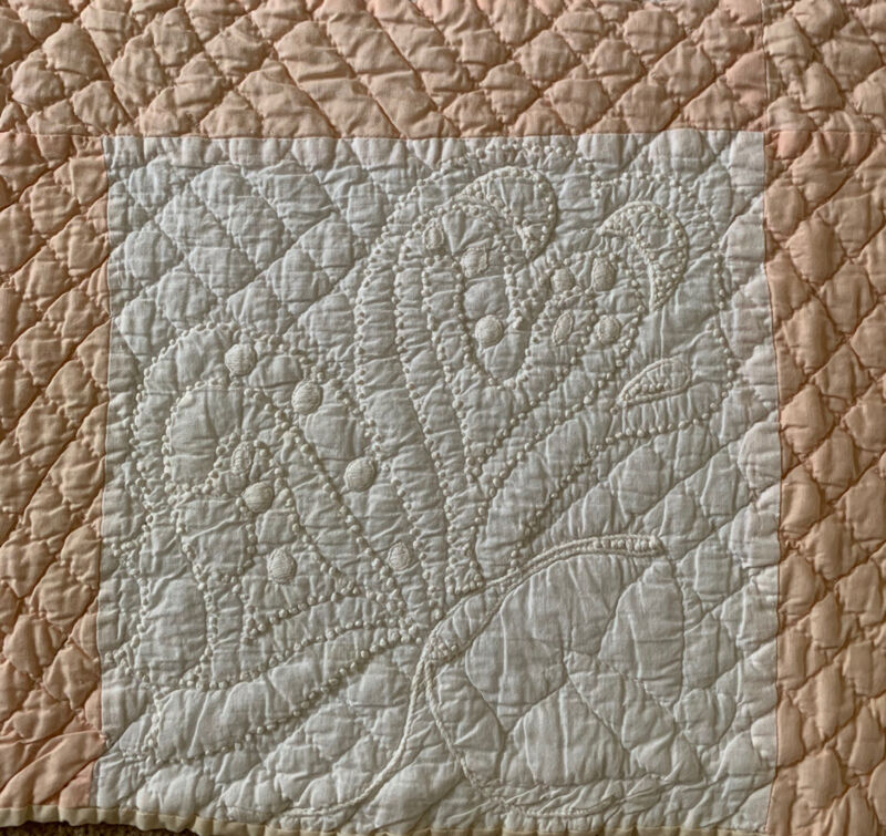 Vintage Peach White Handmade Candlewick Embroidery Quilt Butterfly