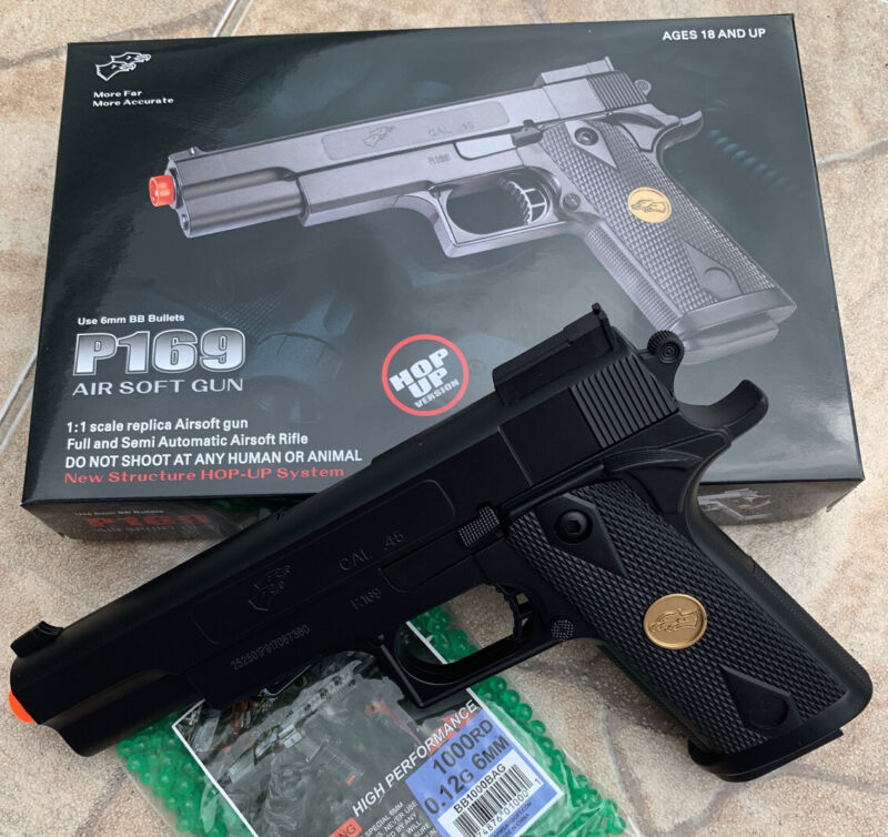 BEST QUALITY ORIGINAL FULL SIZE SPRING AIRSOFT GUN PISTOL WITH FREE 1000 BB