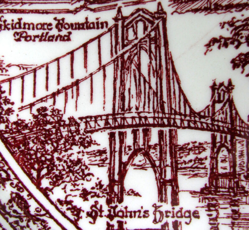 Vintage PORTLAND (Artist: Klinker) Maroon Collectors Plate, Vernon Kilns Pottery