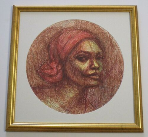 VINTAGE  Drawing Portrait Female Model Mid Century Modern Abstract Expressionism