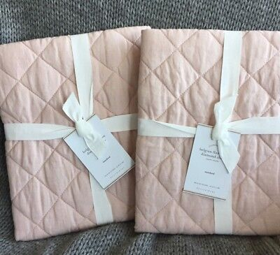 Pottery Barn Belgian Flax Linen Diamond Quilted ** 2 STANDARD Shams SOFT ROSE