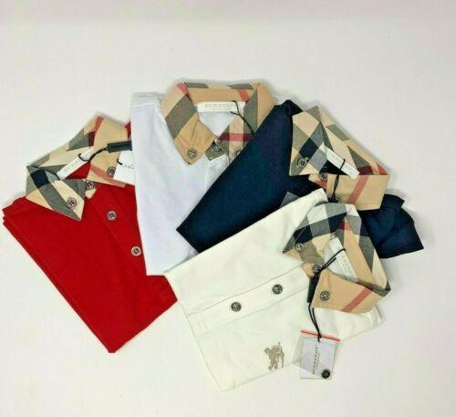 NEW Nwt BURBERRY Children kids Boys Polo Shirt W Nova Check Collar, red
