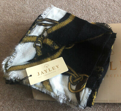 BNWT Jayley Cashmere Silk Blend Black White Chain Scraf Wrap 100% Genuine