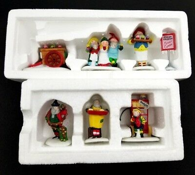 Lot Of 2 Dept 56 Heritage Village Collection North Pole Baker + Snow Cone Elves