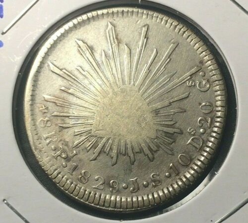 1829 🔥 Mexico Pi JS Large 8 Reales Silver Coin KM 377.12 ✨ F+ 🌞 Early 8R