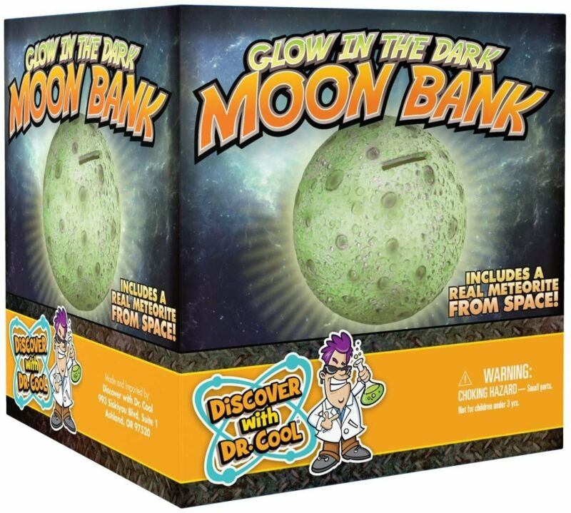 NATIONAL GEOGRAPHIC Glowing Moon Money Bank for Kids - Large Coin Slot and...